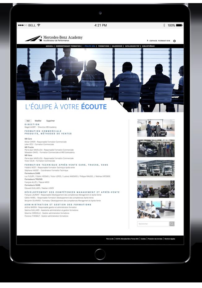 Site Internet Mercedes-Benz Academy sur tablette