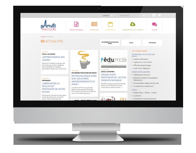 Site internet Parents Parisiens - page Actualités
