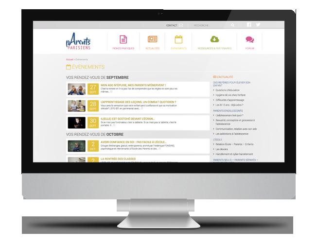 Site internet Parents Parisiens - page Évènements