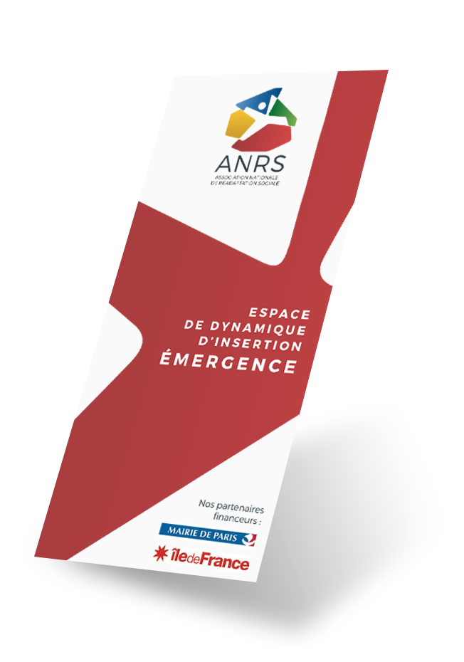 Dépliant de la structure EDI Émergence de l'ANRS (Association Nationale de Réadaptation Sociale)